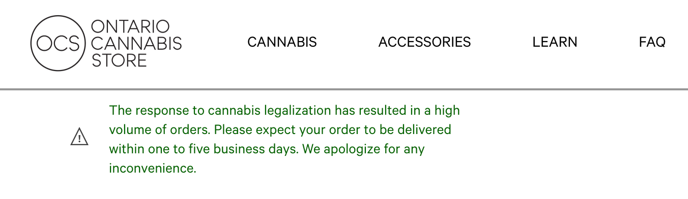 Ontario Cannabis Store Ontario Cannabis Store 2018 10 19 16 29 24 - Shipping Delays! People furious with OCS delivery. No Canada Post shipping email confirmations.. no weed